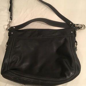 Black leather coach handbag.